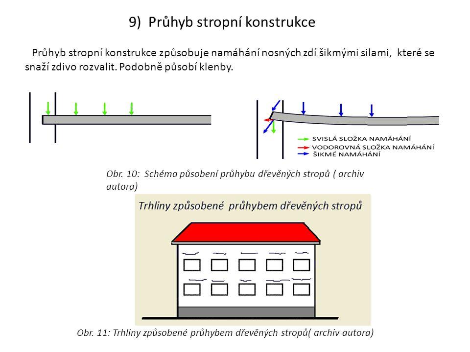 Obr. 11: Trhliny způsobené průhybem dřevěných stropů( archiv autora) 9) Průhyb stropní konstrukce Průhyb stropní konstrukce způsobuje namáhání nosných