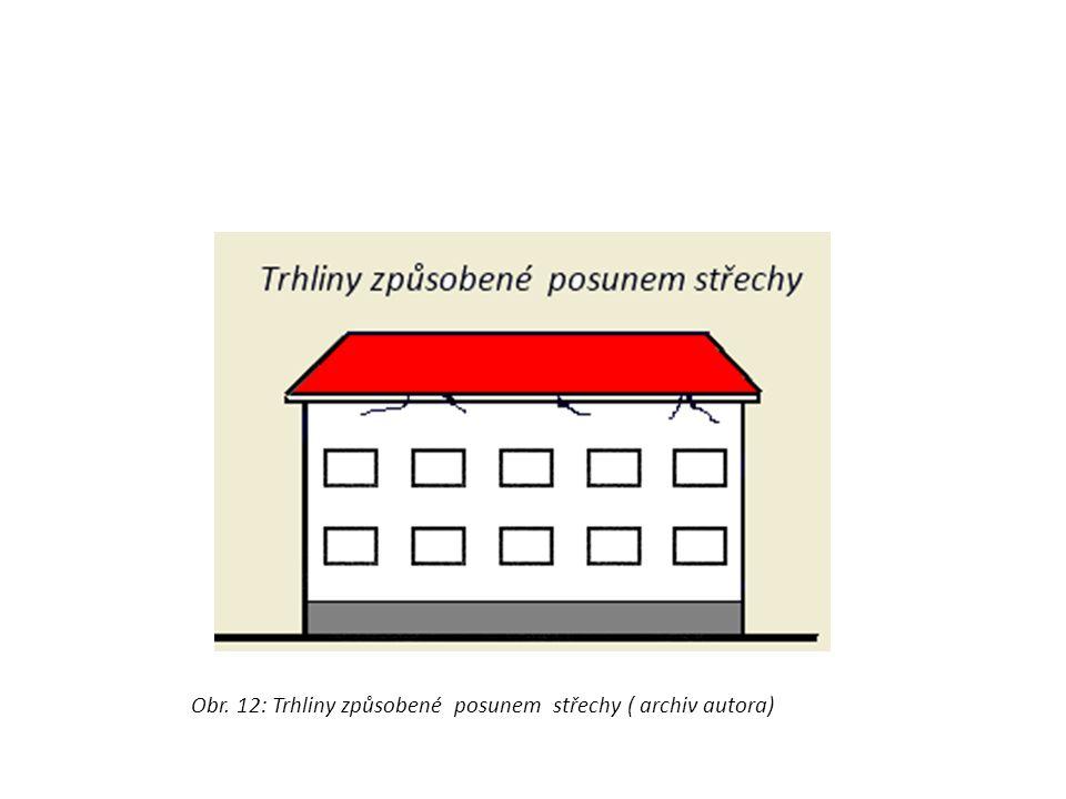 Obr. 12: Trhliny způsobené posunem střechy ( archiv autora)