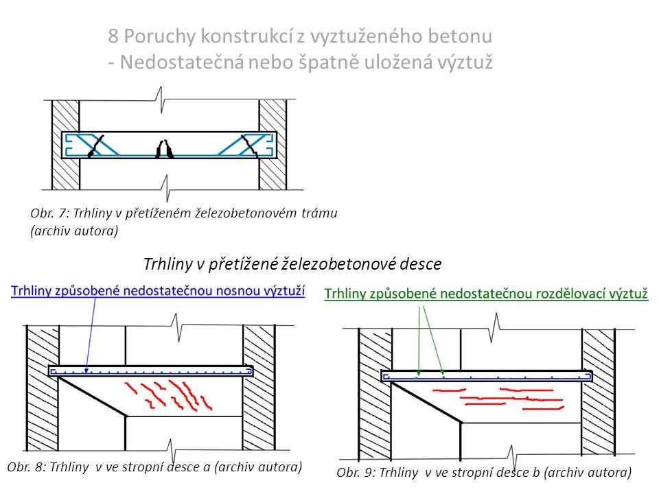 8 Poruchy konstrukcí z vyztuženého betonu - Nedostatečná nebo špatně uložená výztuž Obr.