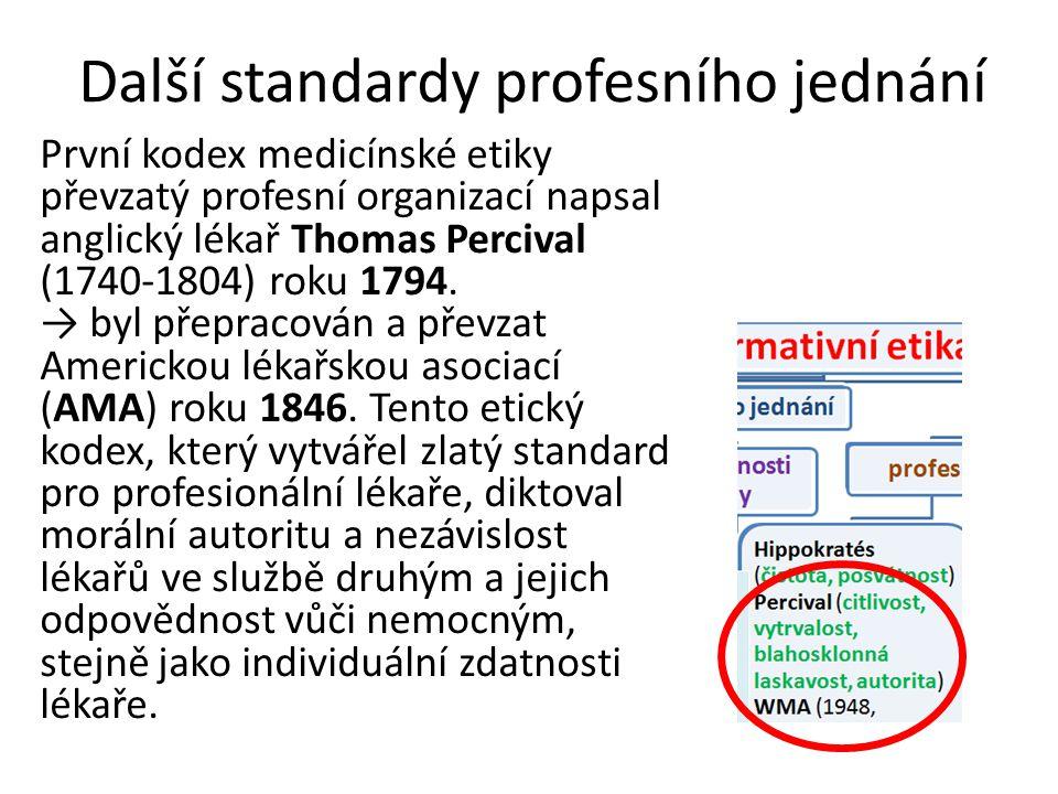 Další standardy profesního jednání První kodex medicínské etiky převzatý profesní organizací napsal anglický lékař Thomas Percival (1740-1804) roku 1794.