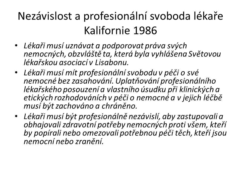 Nezávislost a profesionální svoboda lékaře Kalifornie 1986 Lékaři musí uznávat a podporovat práva svých nemocných, obzvláště ta, která byla vyhlášena Světovou lékařskou asociací v Lisabonu.