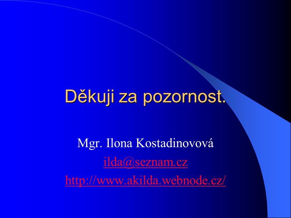 Děkuji za pozornost. Mgr. Ilona Kostadinovová ilda@seznam.cz http://www.akilda.webnode.cz/