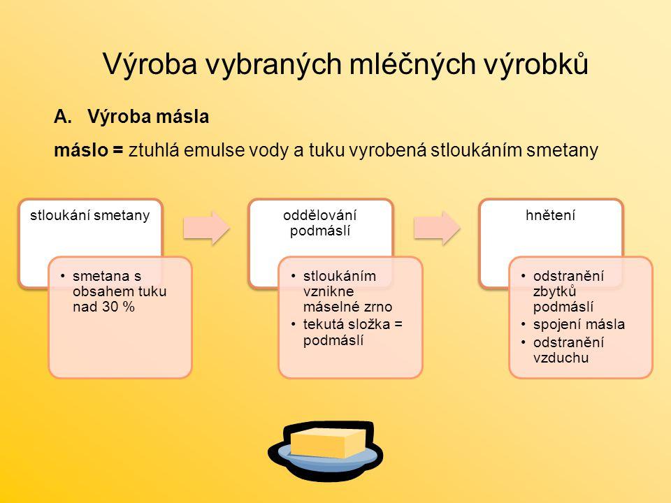 Výroba vybraných mléčných výrobků A.Výroba másla máslo = ztuhlá emulse vody a tuku vyrobená stloukáním smetany stloukání smetany smetana s obsahem tuk