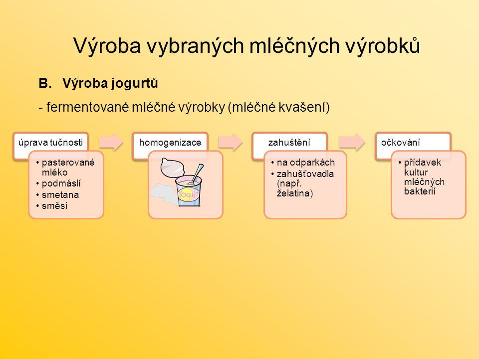 Výroba vybraných mléčných výrobků B.Výroba jogurtů - fermentované mléčné výrobky (mléčné kvašení) úprava tučnosti pasterované mléko podmáslí smetana s