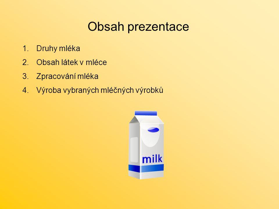 Obsah prezentace 1.Druhy mléka 2.Obsah látek v mléce 3.Zpracování mléka 4.Výroba vybraných mléčných výrobků