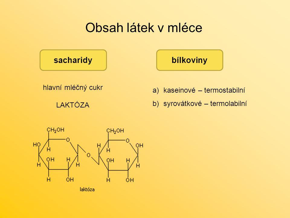Obsah látek v mléce sacharidy hlavní mléčný cukr LAKTÓZA bílkoviny a)kaseinové – termostabilní b)syrovátkové – termolabilní