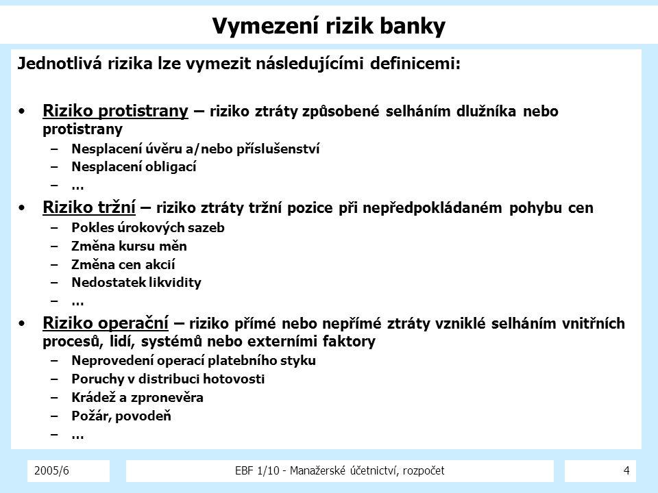 2005/6EBF 1/10 - Manažerské účetnictví, rozpočet4 Vymezení rizik banky Jednotlivá rizika lze vymezit následujícími definicemi: Riziko protistrany – riziko ztráty způsobené selháním dlužníka nebo protistrany –Nesplacení úvěru a/nebo příslušenství –Nesplacení obligací –… Riziko tržní – riziko ztráty tržní pozice při nepředpokládaném pohybu cen –Pokles úrokových sazeb –Změna kursu měn –Změna cen akcií –Nedostatek likvidity –… Riziko operační – riziko přímé nebo nepřímé ztráty vzniklé selháním vnitřních procesů, lidí, systémů nebo externími faktory –Neprovedení operací platebního styku –Poruchy v distribuci hotovosti –Krádež a zpronevěra –Požár, povodeň –…