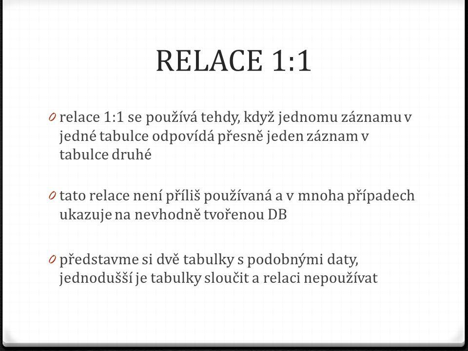 RELACE 1:1 0 relace 1:1 se používá tehdy, když jednomu záznamu v jedné tabulce odpovídá přesně jeden záznam v tabulce druhé 0 tato relace není příliš
