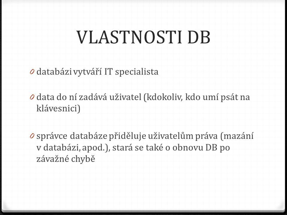 VLASTNOSTI DB 0 databázi vytváří IT specialista 0 data do ní zadává uživatel (kdokoliv, kdo umí psát na klávesnici) 0 správce databáze přiděluje uživa