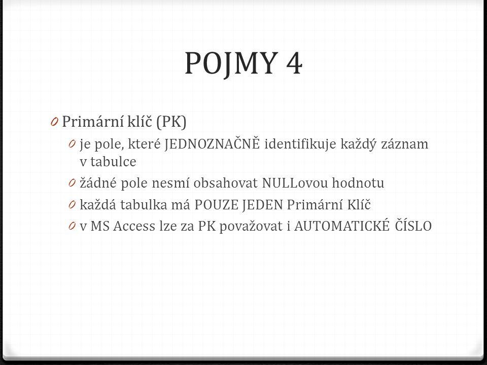 POJMY 4 0 Primární klíč (PK) 0 je pole, které JEDNOZNAČNĚ identifikuje každý záznam v tabulce 0 žádné pole nesmí obsahovat NULLovou hodnotu 0 každá ta
