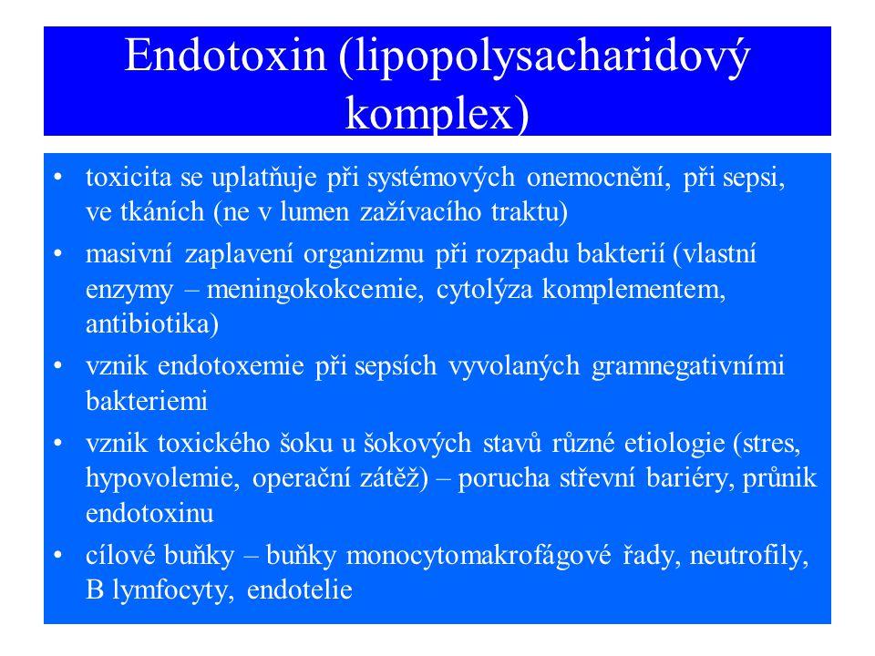 Endotoxin (lipopolysacharidový komplex) toxicita se uplatňuje při systémových onemocnění, při sepsi, ve tkáních (ne v lumen zažívacího traktu) masivní