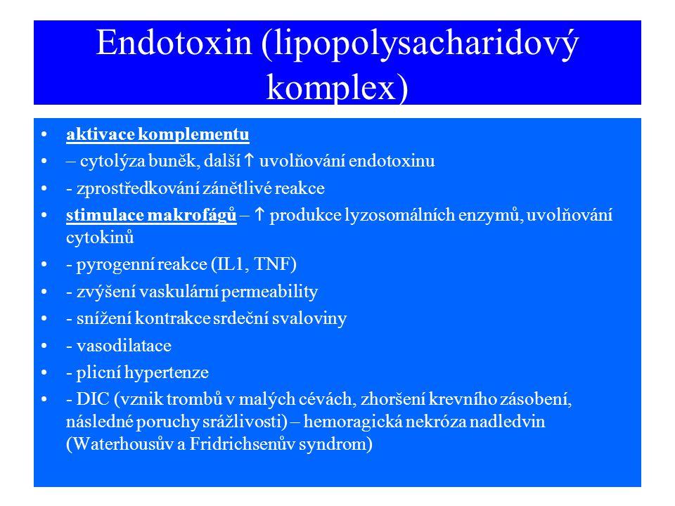Endotoxin (lipopolysacharidový komplex) aktivace komplementu – cytolýza buněk, další  uvolňování endotoxinu - zprostředkování zánětlivé reakce stimul