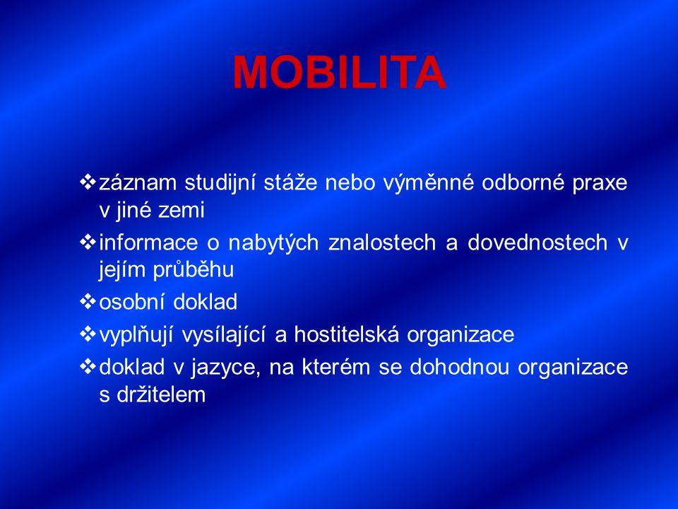 MOBILITA  záznam studijní stáže nebo výměnné odborné praxe v jiné zemi  informace o nabytých znalostech a dovednostech v jejím průběhu  osobní doklad  vyplňují vysílající a hostitelská organizace  doklad v jazyce, na kterém se dohodnou organizace s držitelem