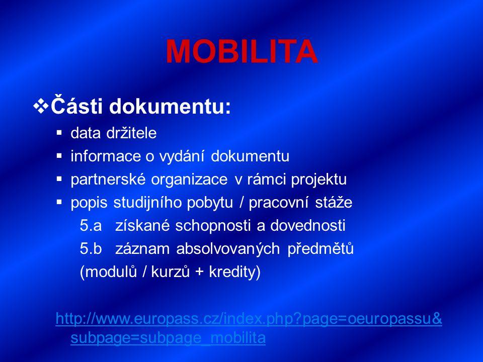 MOBILITA  Části dokumentu:  data držitele  informace o vydání dokumentu  partnerské organizace v rámci projektu  popis studijního pobytu / pracovní stáže 5.a získané schopnosti a dovednosti 5.b záznam absolvovaných předmětů (modulů / kurzů + kredity) http://www.europass.cz/index.php?page=oeuropassu& subpage=subpage_mobilita