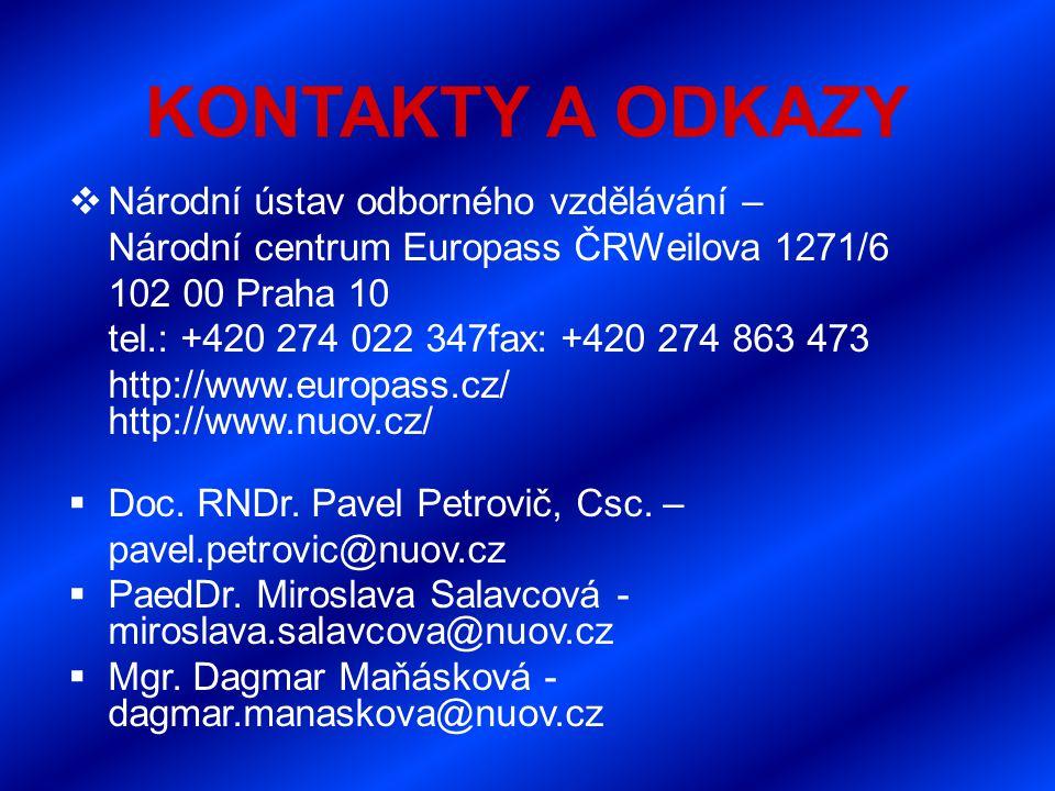 KONTAKTY A ODKAZY  Národní ústav odborného vzdělávání – Národní centrum Europass ČRWeilova 1271/6 102 00 Praha 10 tel.: +420 274 022 347fax: +420 274 863 473 http://www.europass.cz/ http://www.nuov.cz/  Doc.