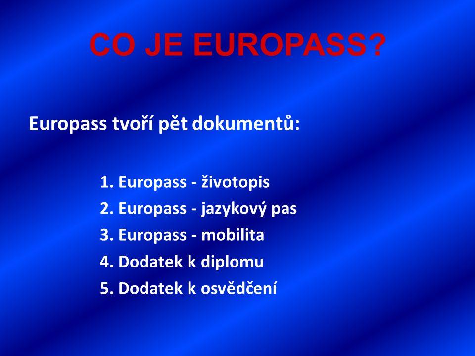 CO JE EUROPASS. Europass tvoří pět dokumentů: 1. Europass - životopis 2.