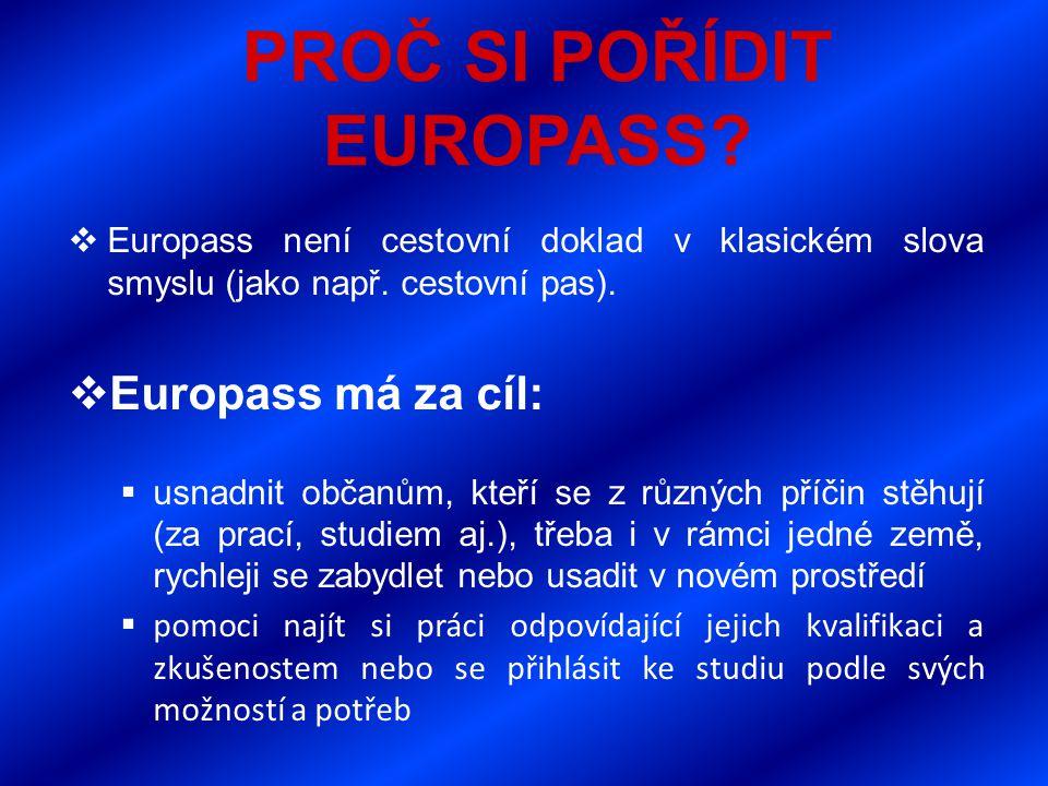 PROČ SI POŘÍDIT EUROPASS.  Europass není cestovní doklad v klasickém slova smyslu (jako např.