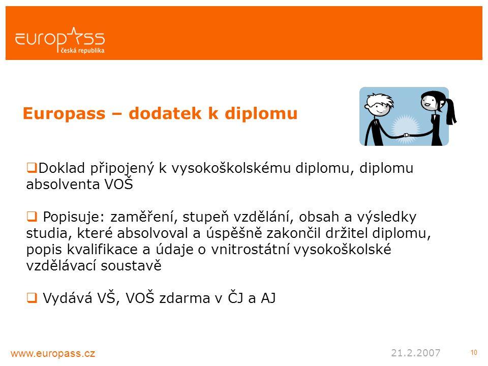 10  Doklad připojený k vysokoškolskému diplomu, diplomu absolventa VOŠ  Popisuje: zaměření, stupeň vzdělání, obsah a výsledky studia, které absolvoval a úspěšně zakončil držitel diplomu, popis kvalifikace a údaje o vnitrostátní vysokoškolské vzdělávací soustavě  Vydává VŠ, VOŠ zdarma v ČJ a AJ Europass – dodatek k diplomu www.europass.cz 21.2.2007