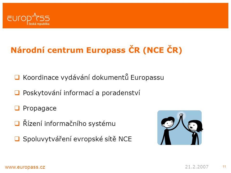 11  Koordinace vydávání dokumentů Europassu  Poskytování informací a poradenství  Propagace  Řízení informačního systému  Spoluvytváření evropské