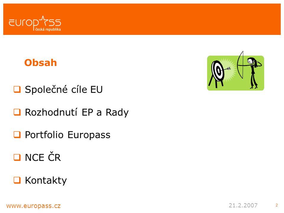 2  Společné cíle EU  Rozhodnutí EP a Rady  Portfolio Europass  NCE ČR  Kontakty Obsah www.europass.cz 21.2.2007