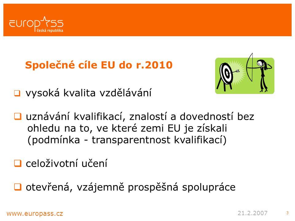 3  vysoká kvalita vzdělávání  uznávání kvalifikací, znalostí a dovedností bez ohledu na to, ve které zemi EU je získali (podmínka - transparentnost kvalifikací)  celoživotní učení  otevřená, vzájemně prospěšná spolupráce Společné cíle EU do r.2010 www.europass.cz 21.2.2007