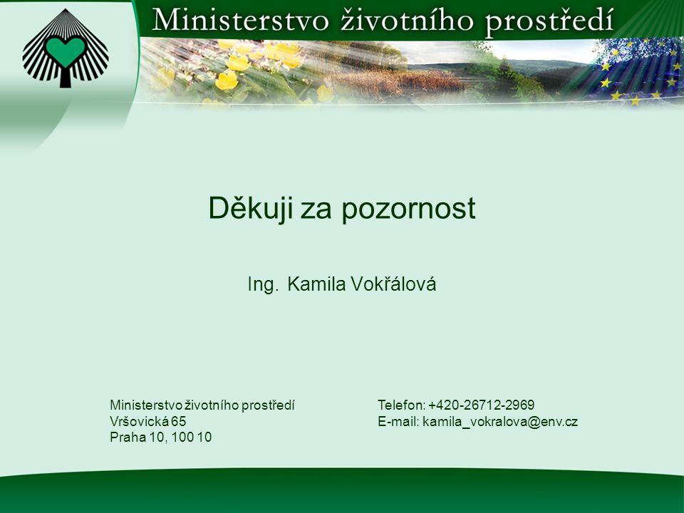 Děkuji za pozornost Ing. Kamila Vokřálová Ministerstvo životního prostředí Vršovická 65 Praha 10, 100 10 Telefon: +420-26712-2969 E-mail: kamila_vokra