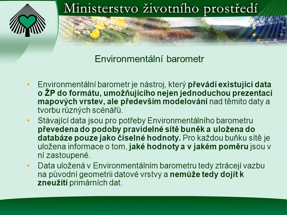 Environmentální barometr Environmentální barometr je nástroj, který převádí existující data o ŽP do formátu, umožňujícího nejen jednoduchou prezentaci mapových vrstev, ale především modelování nad těmito daty a tvorbu různých scénářů.