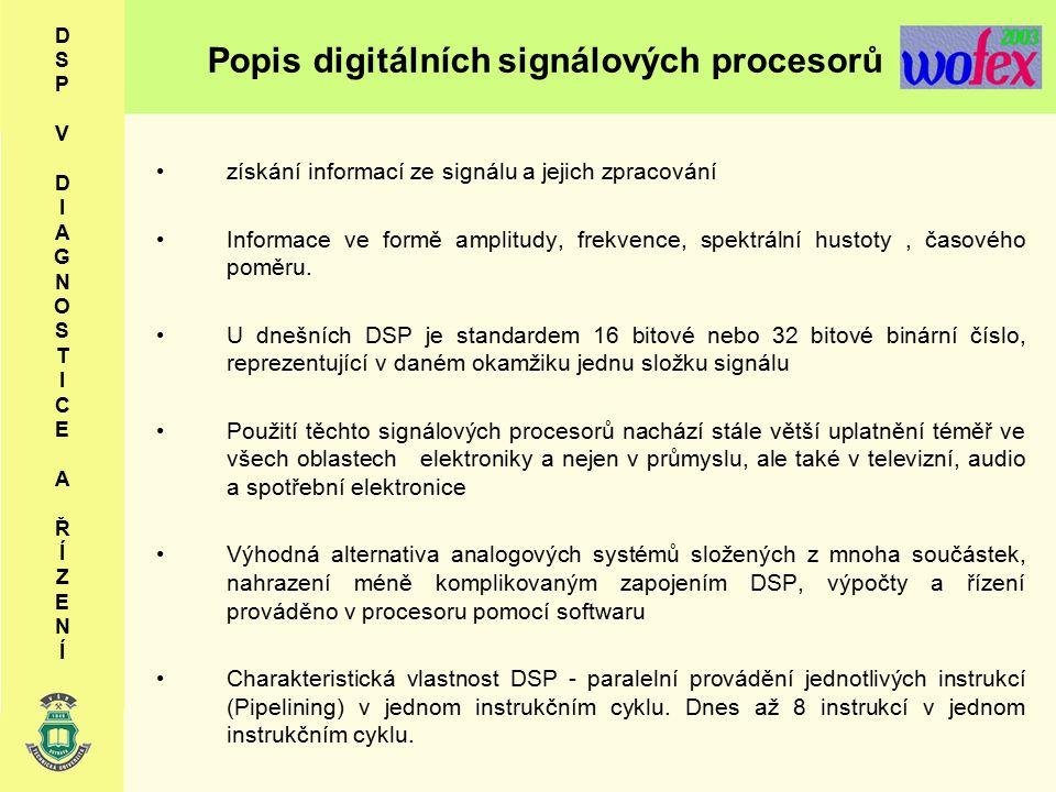 Popis digitálních signálových procesorů získání informací ze signálu a jejich zpracování Informace ve formě amplitudy, frekvence, spektrální hustoty, časového poměru.