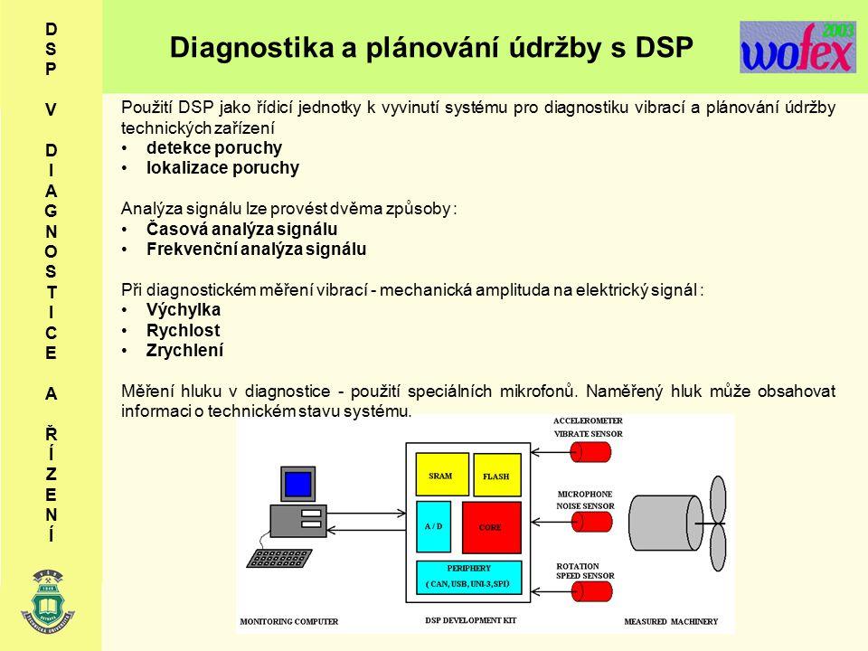 Diagnostika a plánování údržby s DSP D S P V D I A G N O S T I C E A Ř Í Z E N Í Použití DSP jako řídicí jednotky k vyvinutí systému pro diagnostiku vibrací a plánování údržby technických zařízení detekce poruchy lokalizace poruchy Analýza signálu lze provést dvěma způsoby : Časová analýza signálu Frekvenční analýza signálu Při diagnostickém měření vibrací - mechanická amplituda na elektrický signál : Výchylka Rychlost Zrychlení Měření hluku v diagnostice - použití speciálních mikrofonů.
