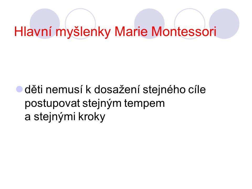 Hlavní myšlenky Marie Montessori děti nemusí k dosažení stejného cíle postupovat stejným tempem a stejnými kroky