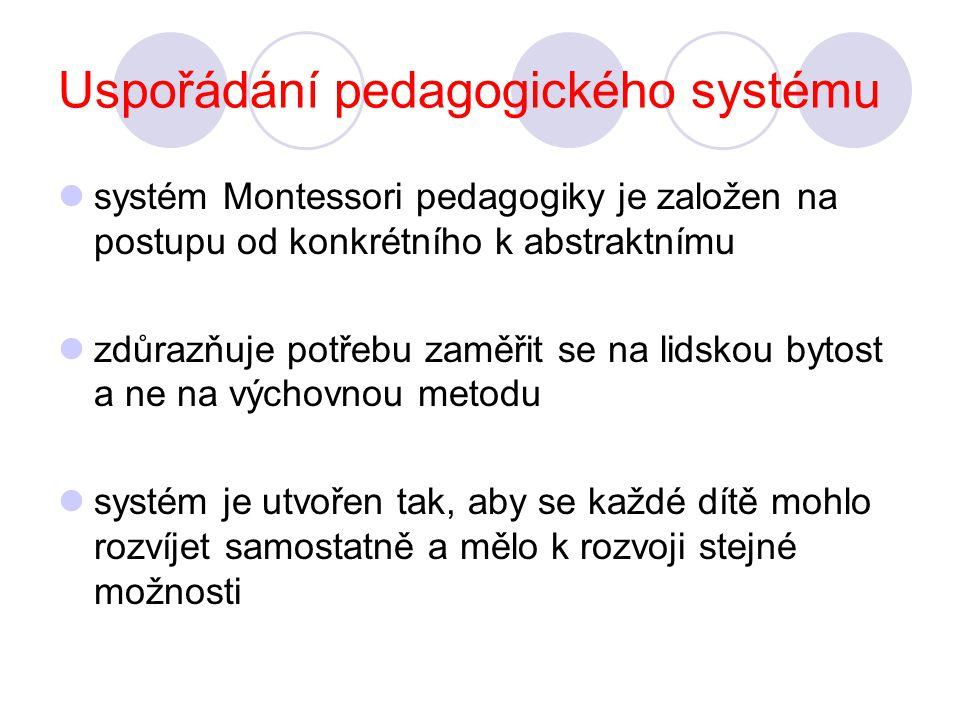 Uspořádání pedagogického systému systém Montessori pedagogiky je založen na postupu od konkrétního k abstraktnímu zdůrazňuje potřebu zaměřit se na lidskou bytost a ne na výchovnou metodu systém je utvořen tak, aby se každé dítě mohlo rozvíjet samostatně a mělo k rozvoji stejné možnosti