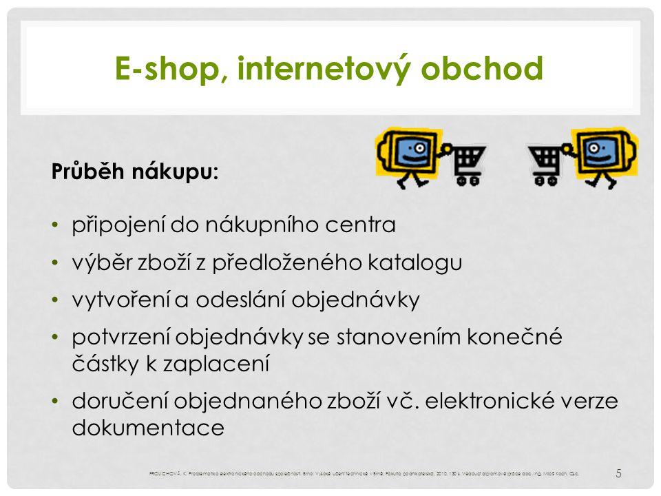 E-shop, internetový obchod Průběh nákupu: připojení do nákupního centra výběr zboží z předloženého katalogu vytvoření a odeslání objednávky potvrzení objednávky se stanovením konečné částky k zaplacení doručení objednaného zboží vč.