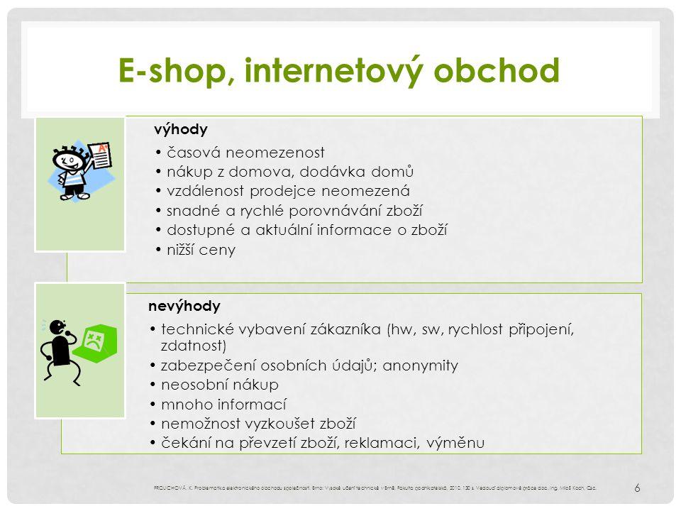 E-shop, internetový obchod 6 FROLICHOVÁ, K. Problematika elektronického obchodu společnosti. Brno: Vysoké učení technické v Brně, Fakulta podnikatelsk