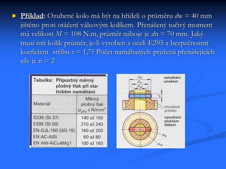 Příklad: Ozubené kolo má být na hřídeli o průměru dw = 40 mm jištěno proti otáčení válcovým kolíkem. Přenášený točivý moment má velikost M = 108 N.m,