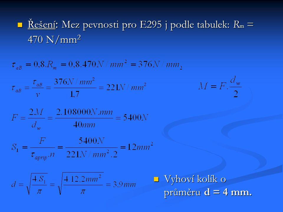 Řešení : Mez pevnosti pro E295 j podle tabulek: R m = 470 N/mm 2 Řešení : Mez pevnosti pro E295 j podle tabulek: R m = 470 N/mm 2 Vyhoví kolík o průmě