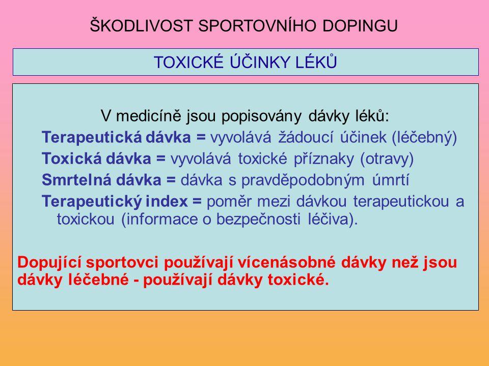 TOXICKÉ ÚČINKY LÉKŮ V medicíně jsou popisovány dávky léků: Terapeutická dávka = vyvolává žádoucí účinek (léčebný) Toxická dávka = vyvolává toxické pří