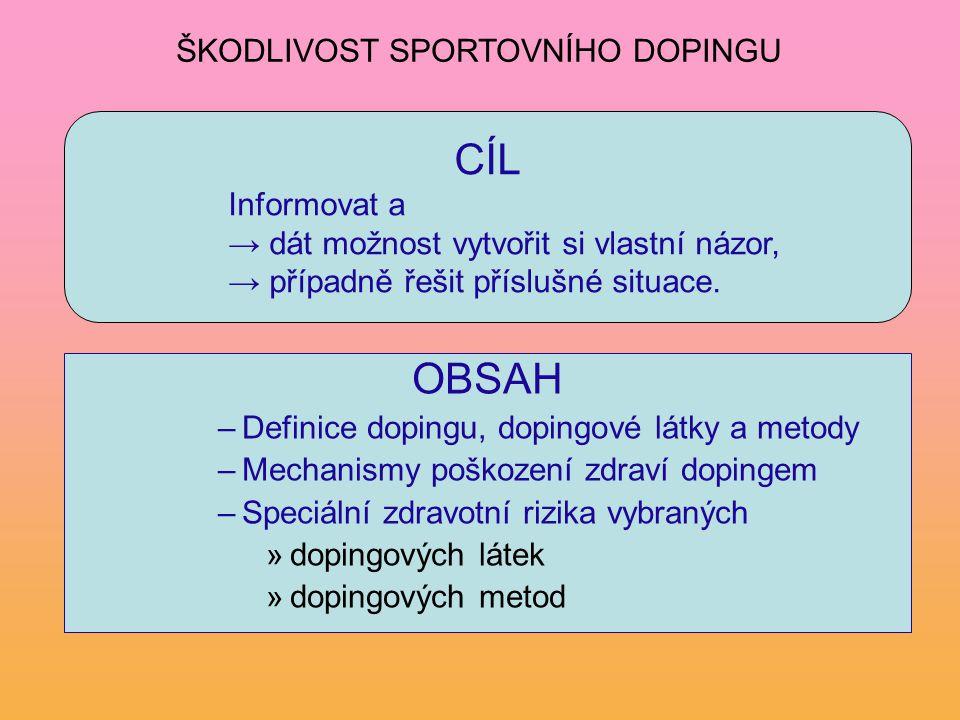 OBSAH –Definice dopingu, dopingové látky a metody –Mechanismy poškození zdraví dopingem –Speciální zdravotní rizika vybraných »dopingových látek »dopi