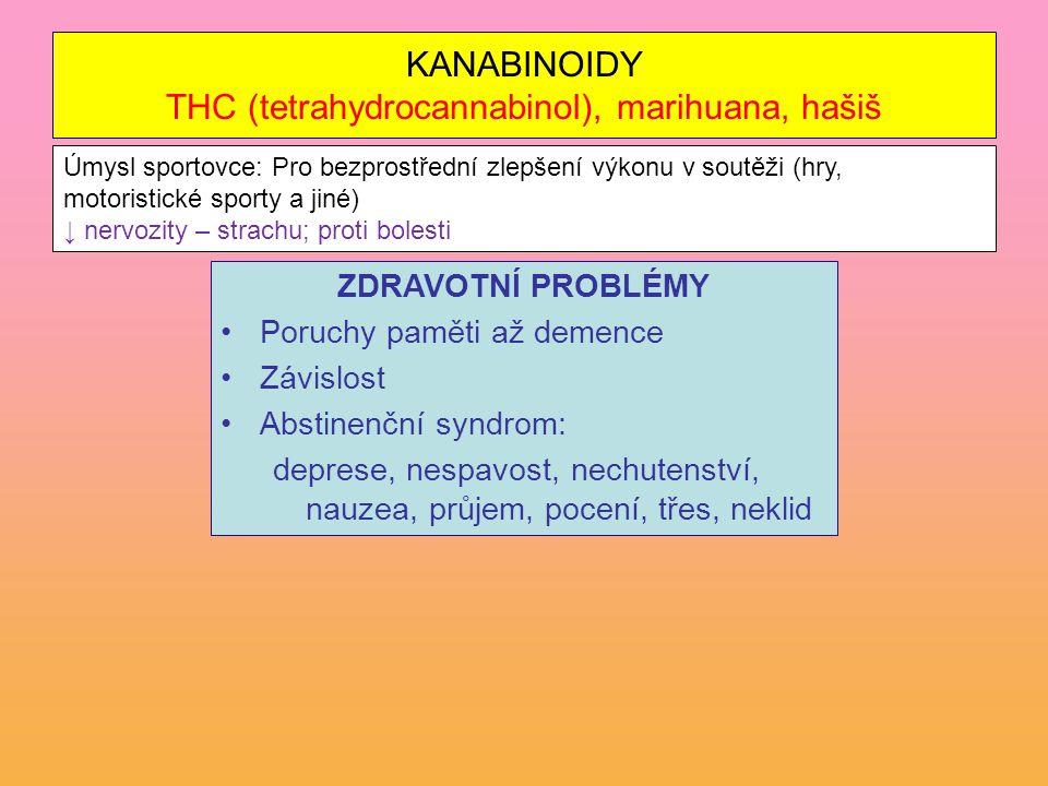 KANABINOIDY THC (tetrahydrocannabinol), marihuana, hašiš ZDRAVOTNÍ PROBLÉMY Poruchy paměti až demence Závislost Abstinenční syndrom: deprese, nespavos
