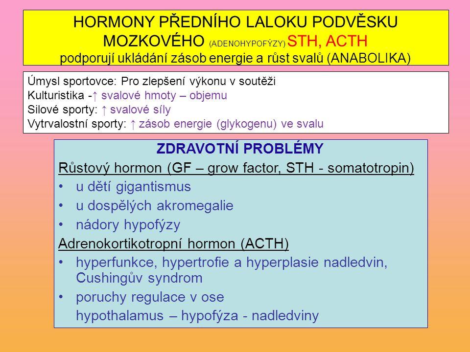 ZDRAVOTNÍ PROBLÉMY Růstový hormon (GF – grow factor, STH - somatotropin) u dětí gigantismus u dospělých akromegalie nádory hypofýzy Adrenokortikotropn