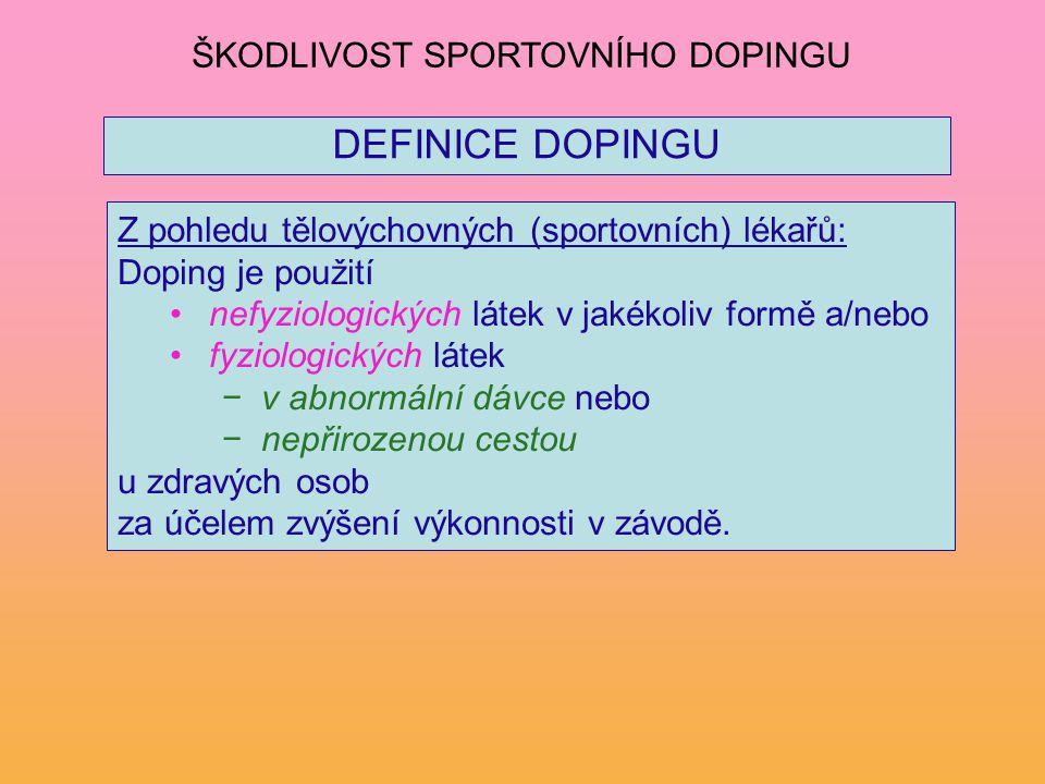 DEFINICE DOPINGU Z pohledu tělovýchovných (sportovních) lékařů: Doping je použití nefyziologických látek v jakékoliv formě a/nebo fyziologických látek