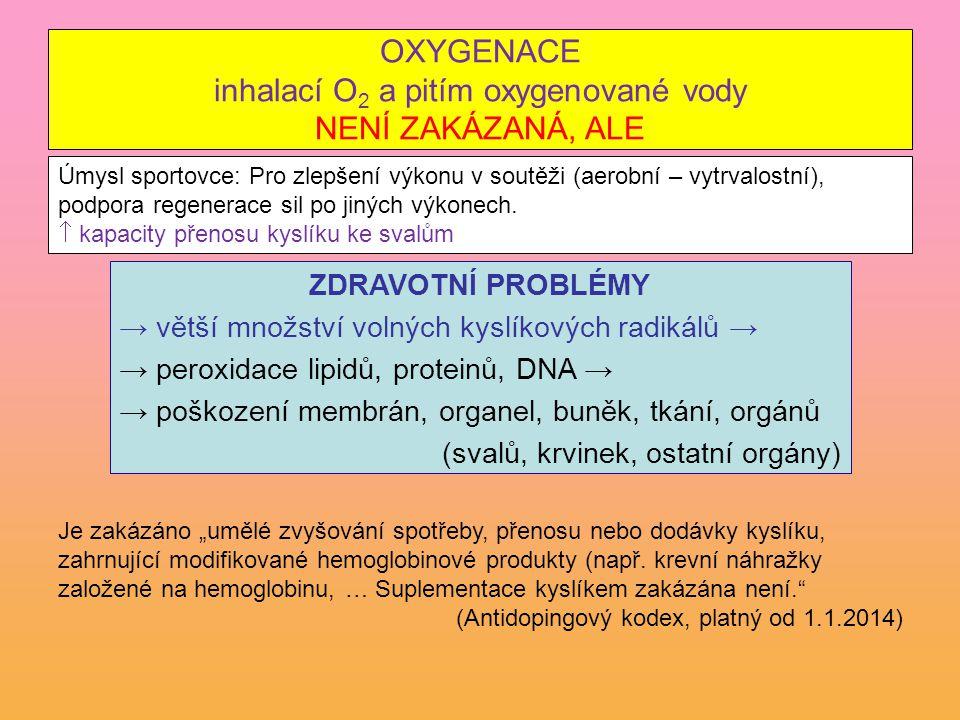 OXYGENACE inhalací O 2 a pitím oxygenované vody NENÍ ZAKÁZANÁ, ALE ZDRAVOTNÍ PROBLÉMY → větší množství volných kyslíkových radikálů → → peroxidace lip