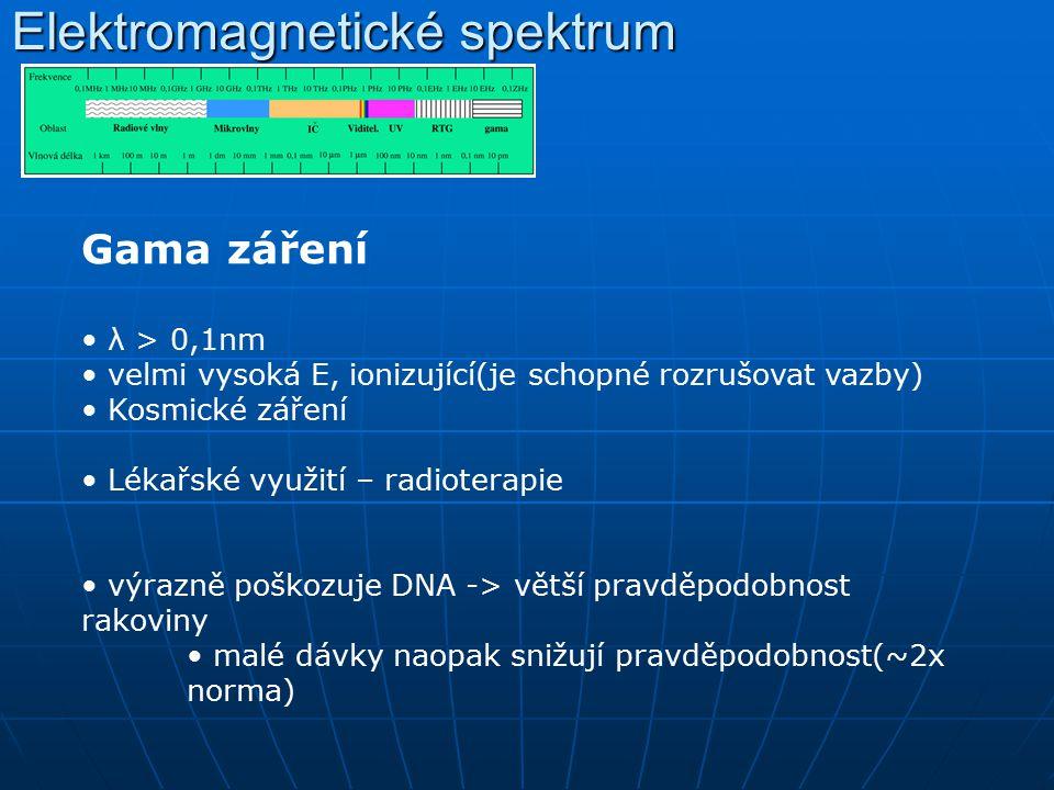 Elektromagnetické spektrum Gama záření λ > 0,1nm velmi vysoká E, ionizující(je schopné rozrušovat vazby) Kosmické záření Lékařské využití – radioterap