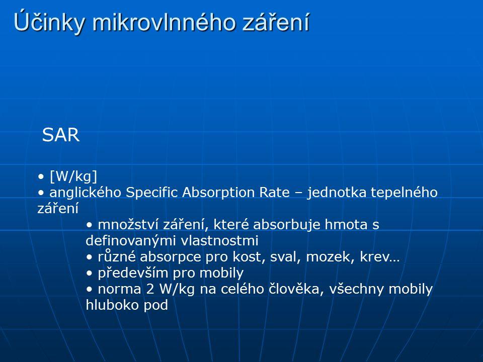 Účinky mikrovlnného záření SAR [W/kg] anglického Specific Absorption Rate – jednotka tepelného záření množství záření, které absorbuje hmota s definov