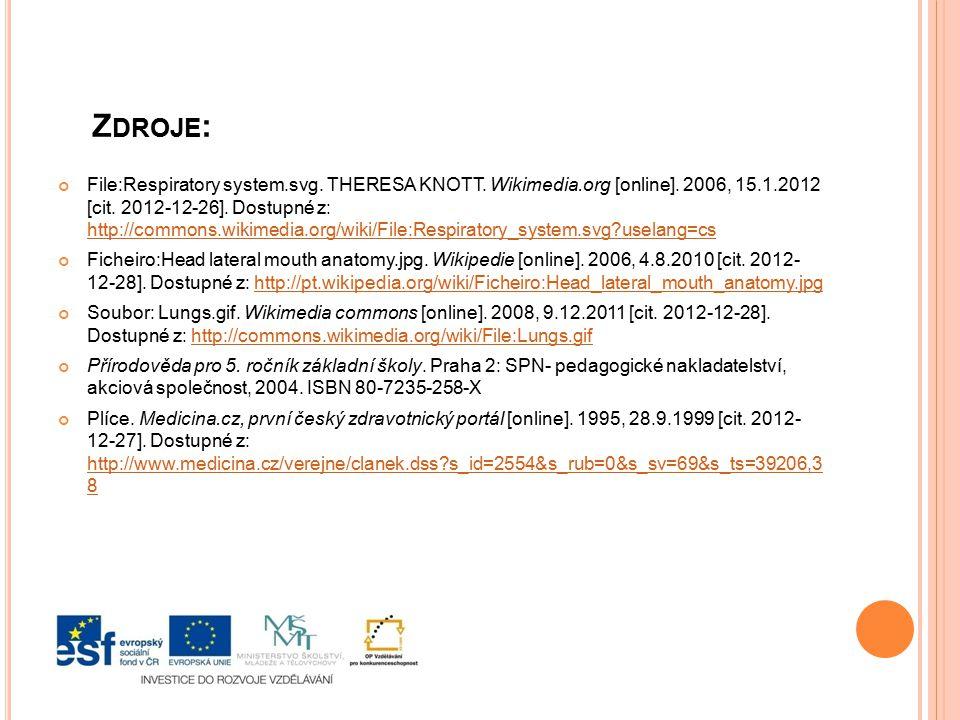 Z DROJE : File:Respiratory system.svg. THERESA KNOTT. Wikimedia.org [online]. 2006, 15.1.2012 [cit. 2012-12-26]. Dostupné z: http://commons.wikimedia.