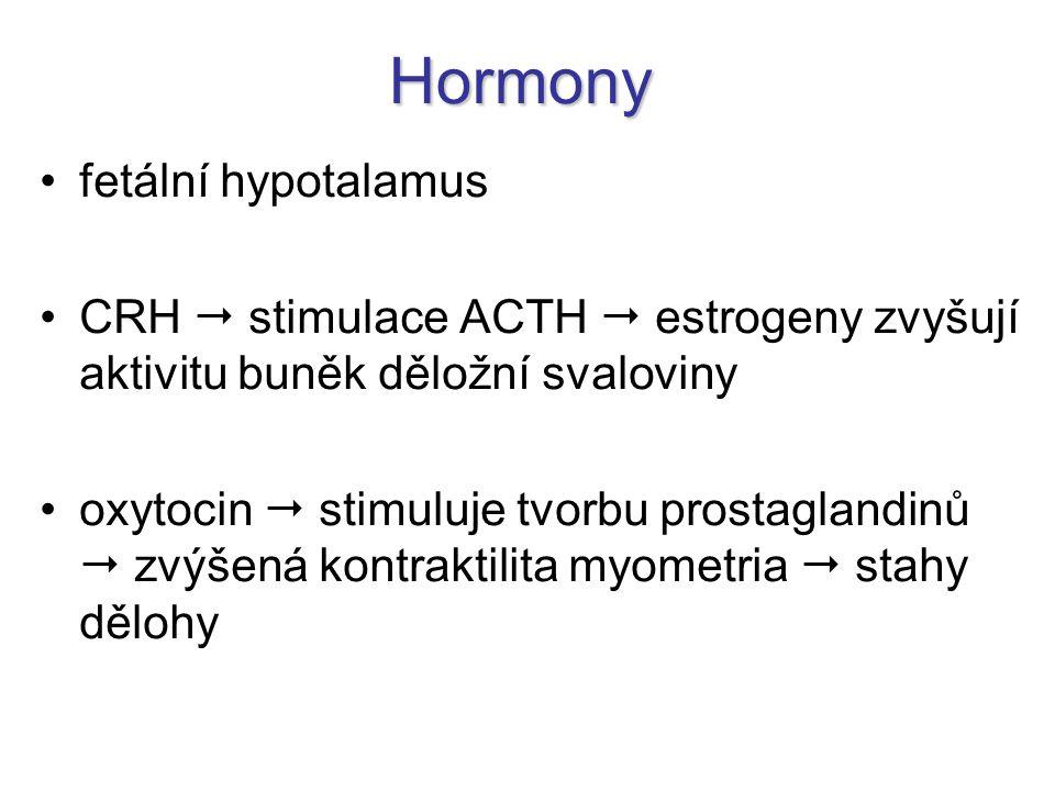 Hormony fetální hypotalamus CRH  stimulace ACTH  estrogeny zvyšují aktivitu buněk děložní svaloviny oxytocin  stimuluje tvorbu prostaglandinů  zvý