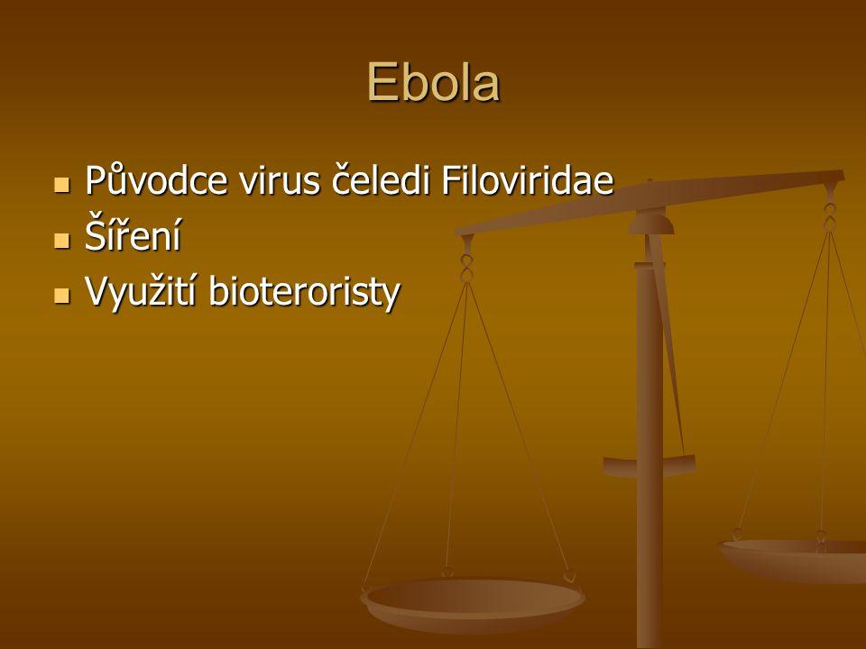 Ebola Původce virus čeledi Filoviridae Původce virus čeledi Filoviridae Šíření Šíření Využití bioteroristy Využití bioteroristy