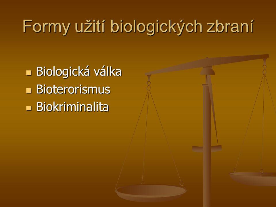 Formy užití biologických zbraní Biologická válka Biologická válka Bioterorismus Bioterorismus Biokriminalita Biokriminalita