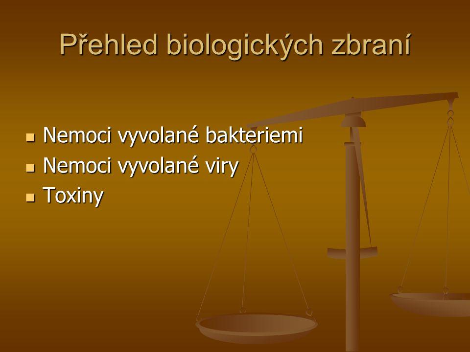 Přehled biologických zbraní Nemoci vyvolané bakteriemi Nemoci vyvolané bakteriemi Nemoci vyvolané viry Nemoci vyvolané viry Toxiny Toxiny