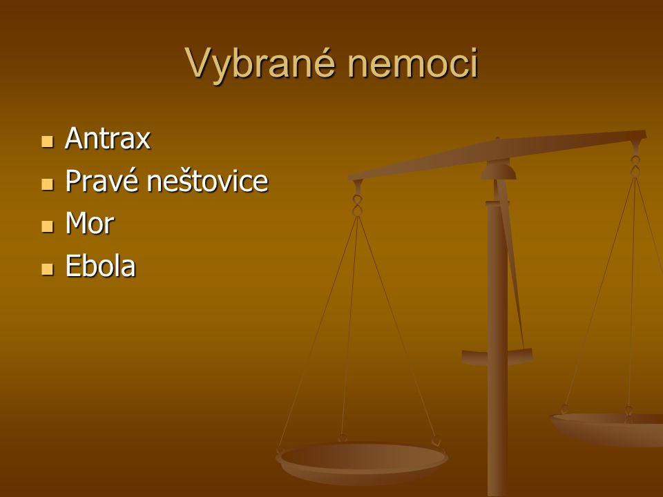 Vybrané nemoci Antrax Antrax Pravé neštovice Pravé neštovice Mor Mor Ebola Ebola