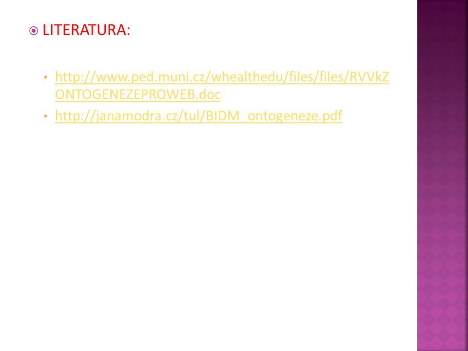  LITERATURA: http://www.ped.muni.cz/whealthedu/files/files/RVVkZ ONTOGENEZEPROWEB.doc http://www.ped.muni.cz/whealthedu/files/files/RVVkZ ONTOGENEZEP